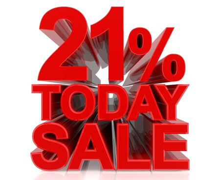 21 % today sale word on white background 3D rendering Stock fotó