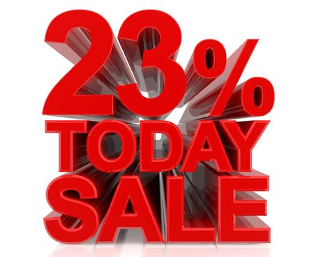 23 % today sale word on white background 3D rendering Stock fotó