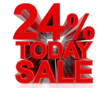 24 % today sale word on white background 3D rendering