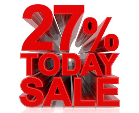 27 % today sale word on white background 3D rendering Stock fotó