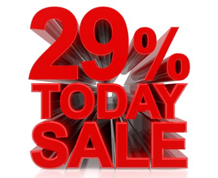 29 % today sale word on white background 3D rendering Stock fotó