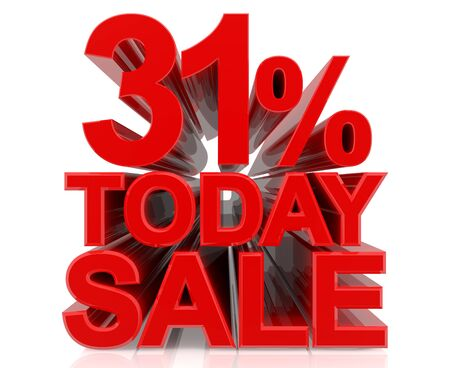 31 % today sale word on white background 3D rendering Stock fotó