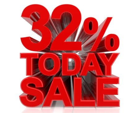 32 % today sale word on white background 3D rendering Stock fotó