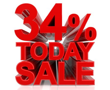 34 % today sale word on white background 3D rendering
