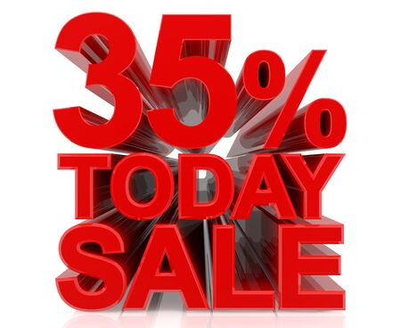 35 % today sale word on white background 3D rendering