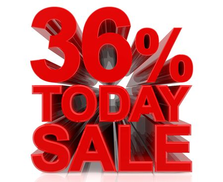36 % today sale word on white background 3D rendering