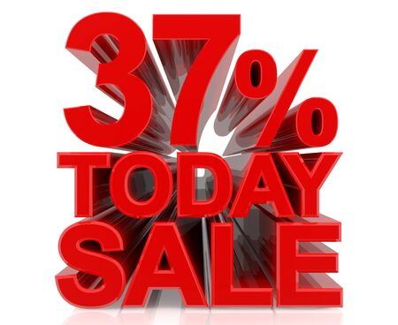 37 % today sale word on white background 3D rendering Stock fotó
