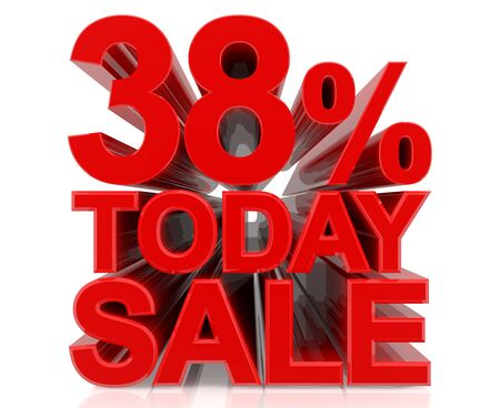 38 % today sale word on white background 3D rendering