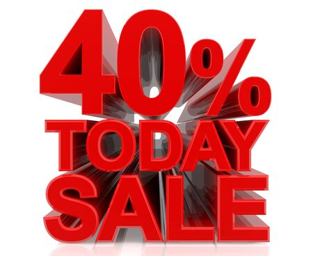 40 % today sale word on white background 3D rendering Stok Fotoğraf