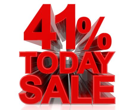 41 % today sale word on white background 3D rendering