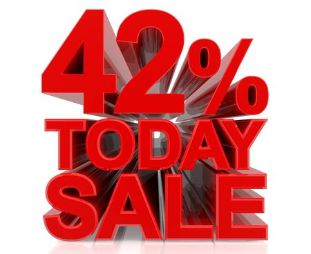 42 % today sale word on white background 3D rendering