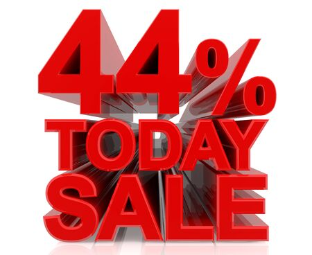 44 % today sale word on white background 3D rendering