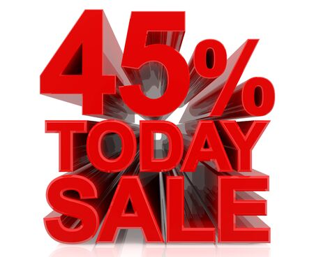 45 % today sale word on white background 3D rendering 스톡 콘텐츠 - 131442482