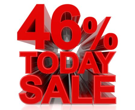 46 % today sale word on white background 3D rendering