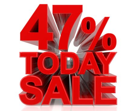 47 % today sale word on white background 3D rendering Stok Fotoğraf