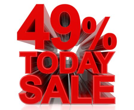 49 % today sale word on white background 3D rendering