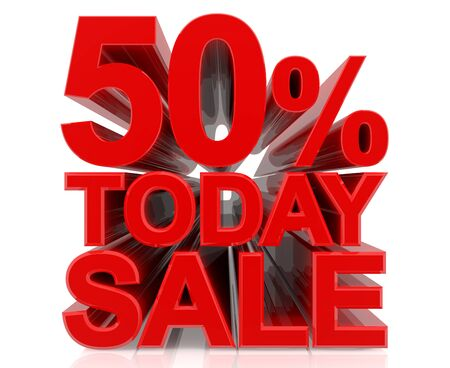 50 % today sale word on white background 3D rendering