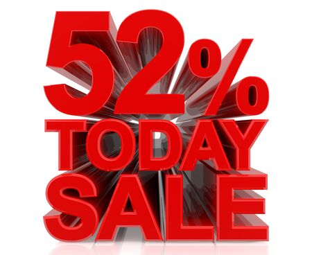 52 % today sale word on white background 3D rendering