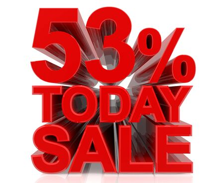 53 % today sale word on white background 3D rendering