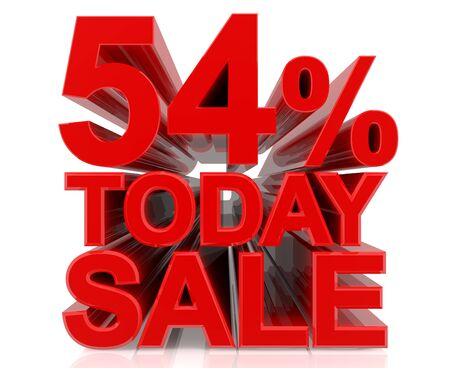 54 % today sale word on white background 3D rendering