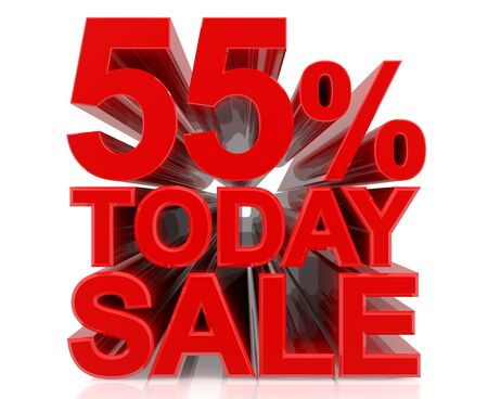 55 % today sale word on white background 3D rendering