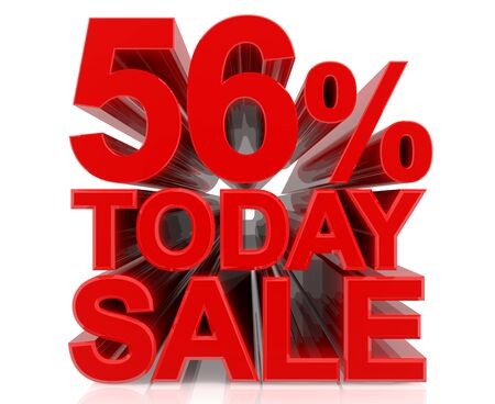 56 % today sale word on white background 3D rendering