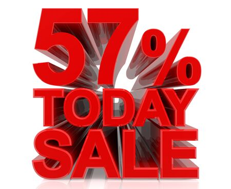 57 % today sale word on white background 3D rendering Stock fotó