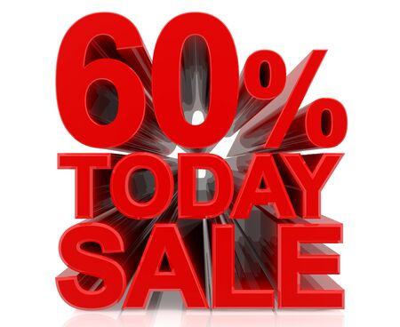 60 % today sale word on white background 3D rendering