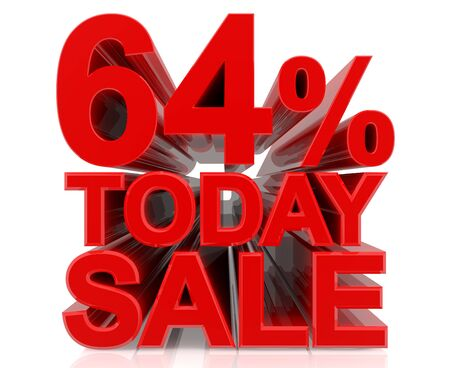 64 % today sale word on white background 3D rendering Stock fotó