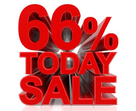 66 % today sale word on white background 3D rendering