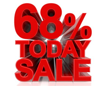 68 % today sale word on white background 3D rendering