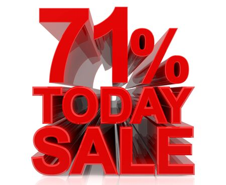 71 % today sale word on white background 3D rendering Stock fotó