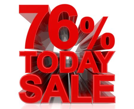 76 % today sale word on white background 3D rendering Stock fotó