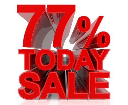 77 % today sale word on white background 3D rendering