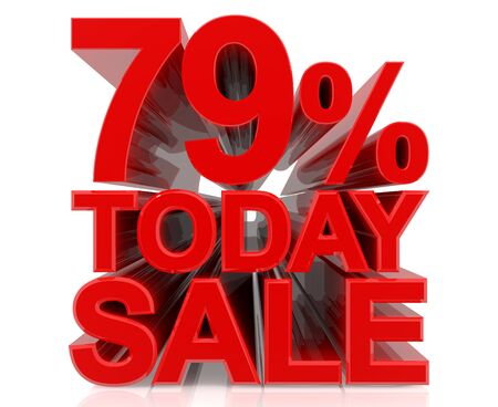 79 % today sale word on white background 3D rendering