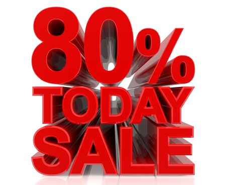 80 % today sale word on white background 3D rendering