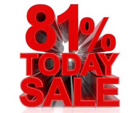 81 % today sale word on white background 3D rendering