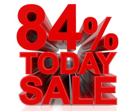 84 % today sale word on white background 3D rendering Stock fotó