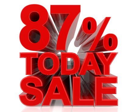87 % today sale word on white background 3D rendering