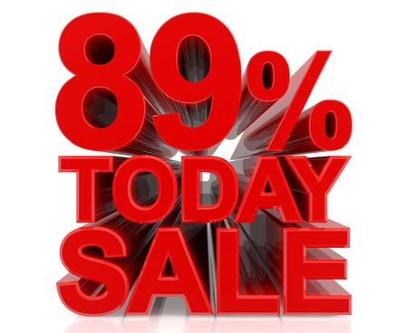 89 % today sale word on white background 3D rendering Stock fotó