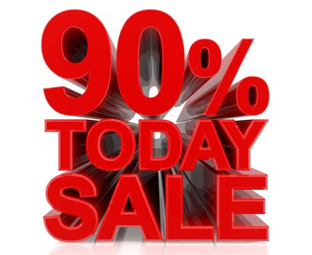 90 % today sale word on white background 3D rendering Stock fotó