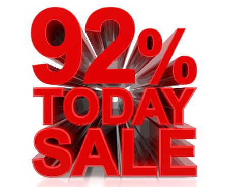 92 % today sale word on white background 3D rendering