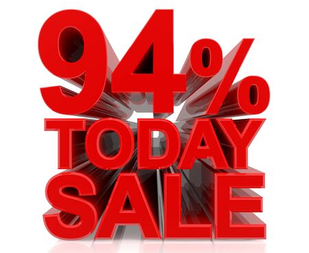 94 % today sale word on white background 3D rendering