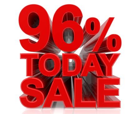 96 % today sale word on white background 3D rendering Stock fotó