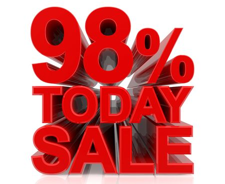 98 % today sale word on white background 3D rendering