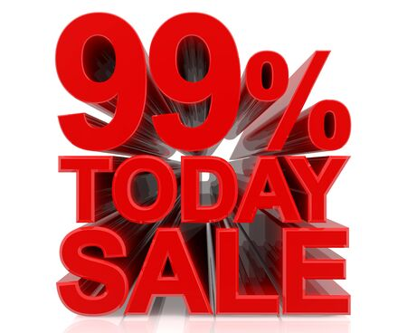 99 % today sale word on white background 3D rendering Stock fotó