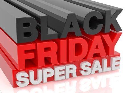 BLACK FRIDAY SUPER SALE word on white background 3d rendering Zdjęcie Seryjne