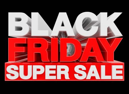 BLACK FRIDAY SUPER SALE word 3d rendering