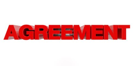 AGREEMENT word on white background 3d rendering