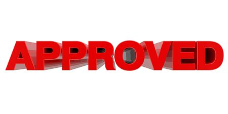 APPROVED word on white background 3d rendering